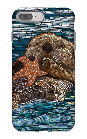 Sea Otter - Paper Mosaic iPhone 7 Plus Case by  Lantern Press