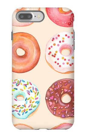 Seamless Background of Watercolor Colorful Donuts Glazed. iPhone 7 Plus Case by  Nikiparonak