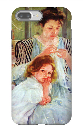 Young Mother Sewing iPhone 7 Plus Case by Mary Cassatt