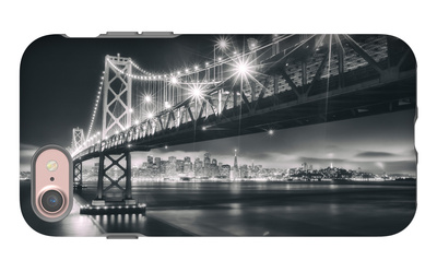 San Francisco Cityscape in Black and White, Bay Bridge iPhone 7 Case by Vincent James
