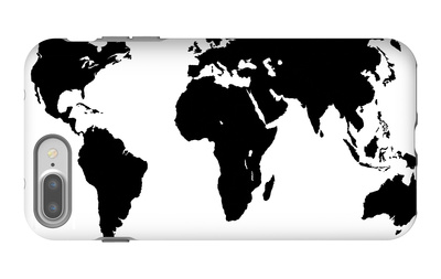 World Map - Black On White iPhone 7 Plus Case by  Jacques70