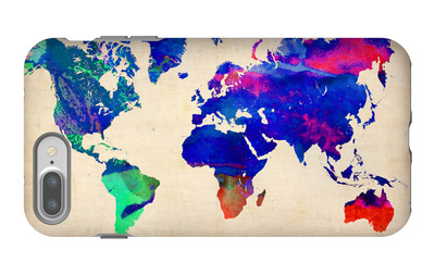 World Watercolor Map 2 iPhone 7 Plus Case by  NaxArt