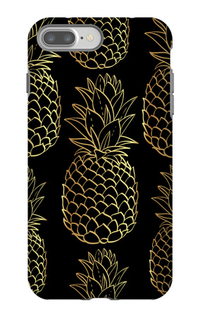 Exotic Seamless Pattern with Silhouettes Tropical Fruit Pineapples. iPhone 7 Plus Case by  klepsidra