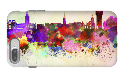 Stockholm Skyline in Watercolor Background iPhone 7 Plus Case by  paulrommer
