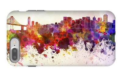 San Francisco Skyline in Watercolor Background iPhone 7 Plus Case by  paulrommer