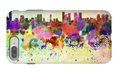 Tel Aviv Skyline in Watercolor Background iPhone 7 Plus Case by  paulrommer