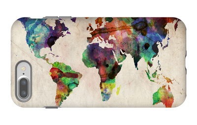 World Map Urban Watercolour iPhone 7 Plus Case by Michael Tompsett