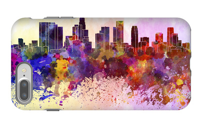 Los Angeles Skyline in Watercolor Background iPhone 7 Plus Case by  paulrommer