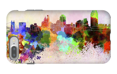 Cincinnati Skyline in Watercolor Background iPhone 7 Plus Case by  paulrommer