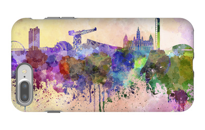 Glasgow Skyline in Watercolor Background iPhone 7 Plus Case by  paulrommer