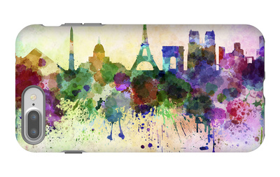 Paris Skyline in Watercolor Background iPhone 7 Plus Case by  paulrommer