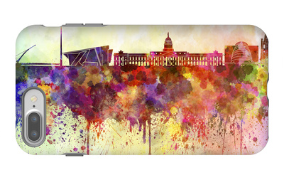 Dublin Skyline in Watercolor Background iPhone 7 Plus Case by  paulrommer