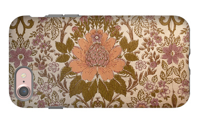 Vintage Wallpaper Interior with a Regal Floral Design iPhone 7 Case by Jena Ardell