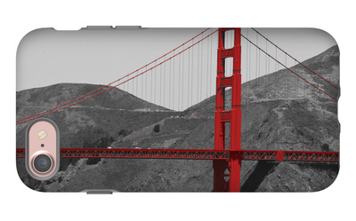 Golden Gate Bridge with Red Pop Border iPhone 7 Case by Emily Navas
