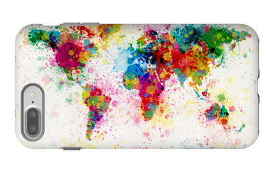 World Map Paint Splashes iPhone 7 Plus Case by Michael Tompsett
