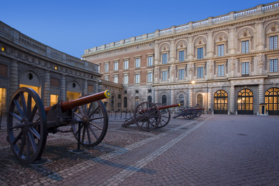Capital, Stockholmer Palace, Outside-Facade, Palace Place, Cannons Photographic Print by Rainer Mirau