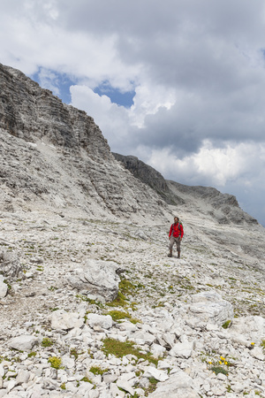 Hiker in the Way to the Summit of the Piz BoŽ, the Dolomites, South Tyrol, Italy, Europe Photographic Print by Gerhard Wild