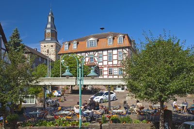 Germany, Hessen, Northern Hessen, Bad Zwesten, Old Town, City Hall, Restaurant Photographic Print by Chris Seba