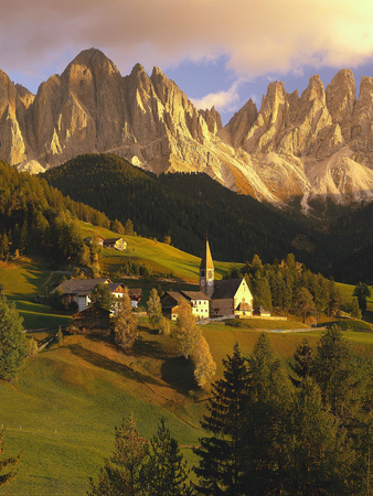 Italy, South Tyrol, VillnTal, St. Magdalena, Church, Mountains, 'Geislerspitzen', Autumn Photographic Print by  Thonig