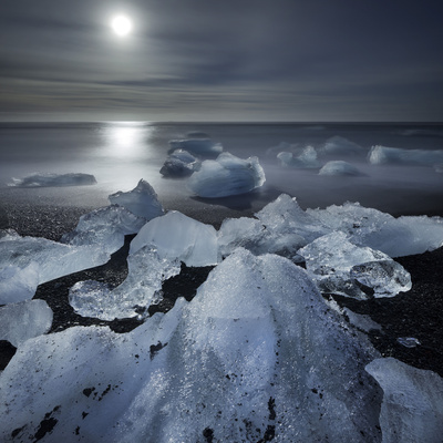 Icebergs Next to Glacial), River Lagoon Jškuls‡rlon (Lake), Moonlight, East Iceland, Iceland Photographic Print by Rainer Mirau
