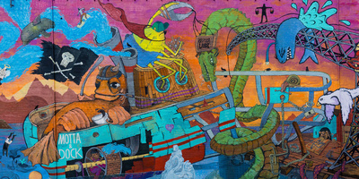 Reykjavik, Facade, Colourful, Graffiti Photographic Print by Catharina Lux