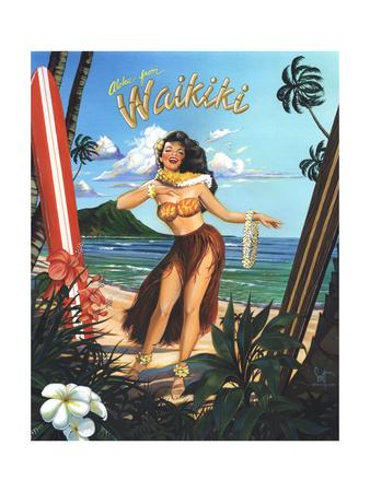 Waikiki Girl Poster by Scott Westmoreland