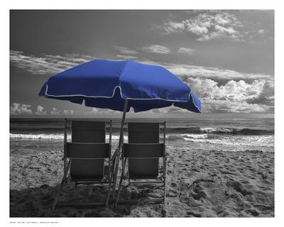 Blue Umbrella Prints by Eve Turek
