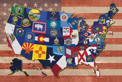 Map Of The Us State Flags Affischer