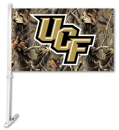 NCAA Central Florida Golden Knights Realtree Camo Car Flag with Wall Bracket Flag