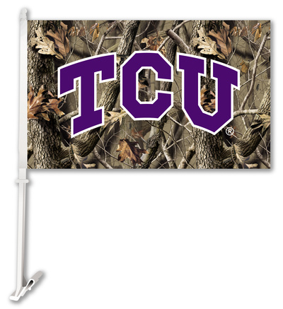 NCAA Texas Christian Horned Frogs Realtree Camo Car Flag with Wall Bracket Flag