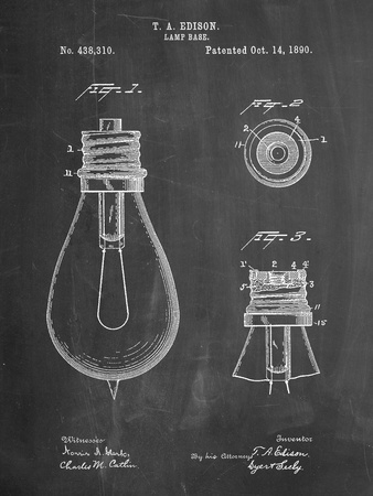 Edison Lamp Base Patent Print Art by Cole Borders
