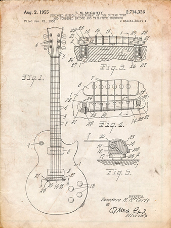 Gibson Les Paul Guitar Patent Print by Cole Borders