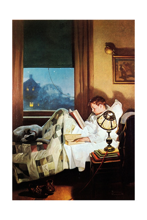 And Every Lad May Be Aladdin (or Reading in Bed) Giclee Print by Norman Rockwell