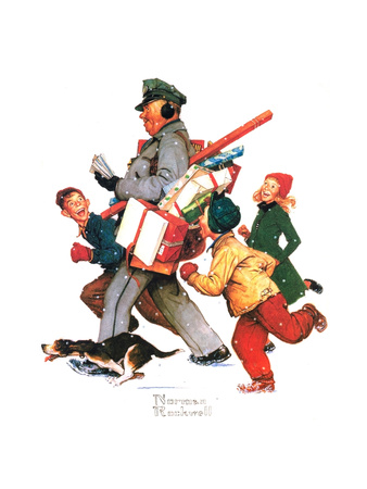 Jolly Postman Giclee Print by Norman Rockwell