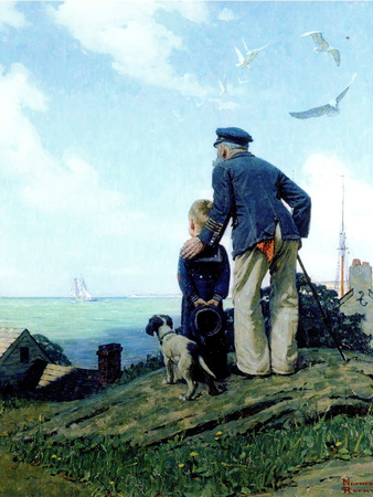 The Stay at Homes (or Outward Bound; Looking Out to Sea) Giclee Print by Norman Rockwell