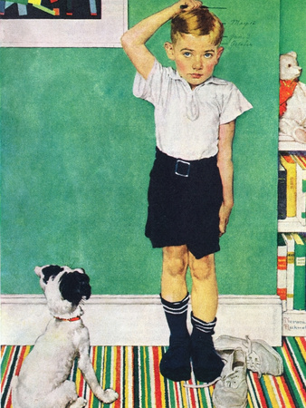 He's Going to Be Taller Than Dad (or Boy Measuring Himself on Wall) Giclee Print by Norman Rockwell