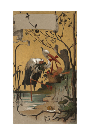 Stork with Baby Basket Print