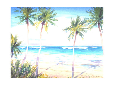Palm Trees Casting Shadows onto Beach with Incoming Tide Print