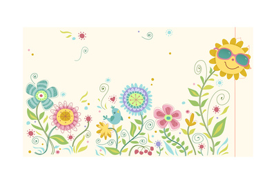 Whimsical-Style Flowers with Smiling Sun Wearing Sunglases Prints