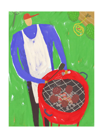 Man Grilling Hamburgers on Red Grill Outside Prints