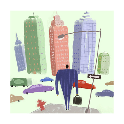 Man in Suit Walking Toward City Filled with Cars Art