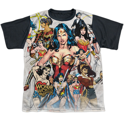 Youth: Wonder Woman- 75Th Collage Black Back T-shirts