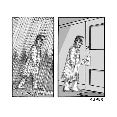 A blurry man walking in the rain, revealed in the next frame to just be bl... - New Yorker Cartoon Giclee Print by Peter Kuper
