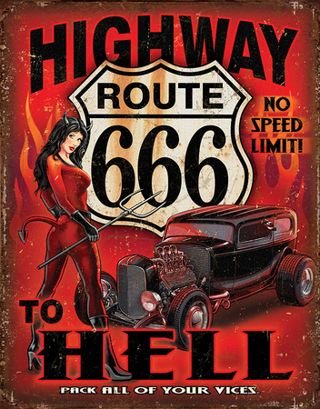 Route 666 - Highway to Hell Tin Sign
