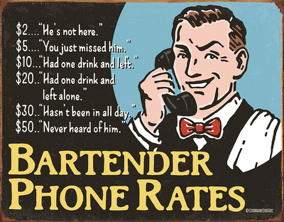 Bartender's Phone Rates Tin Sign