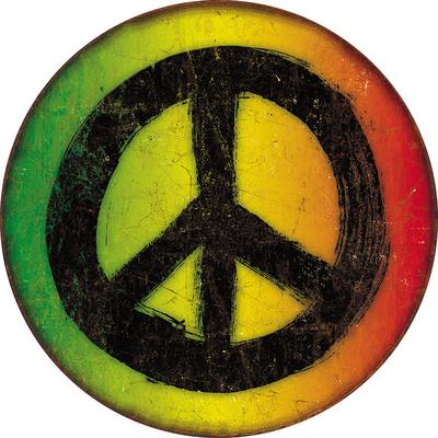 Rasta Peace Sign Tin Sign