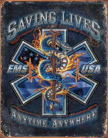 EMS - Saving Lives Tin Sign