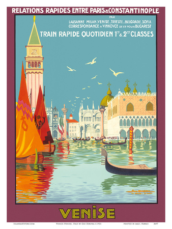 Venice (Venise), Italy - Venetian Grand Canal - Fast Train Daily Posters by Geo Dorival