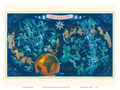 Zodiac Constellations - Star Planisphere Posters van Lucien Boucher