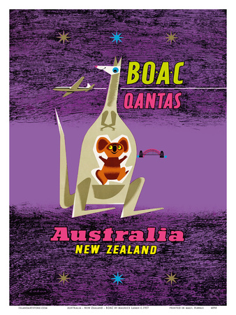 Australia - New Zealand - BOAC (British Overseas Airways Corporation) Posters by Maurice Laban